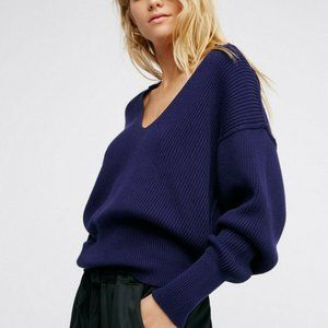 Free People Allure Ribbed V-Neck Pullover Sweater